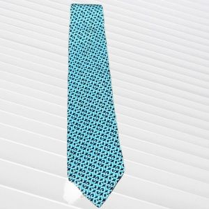 Gucci navy blue and turquoise silk tie